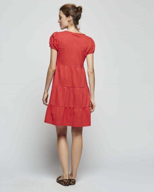 Vestido Rojos Volantes Cuello Tirilla Dolores - SEVEN TIMES - PALENCIA