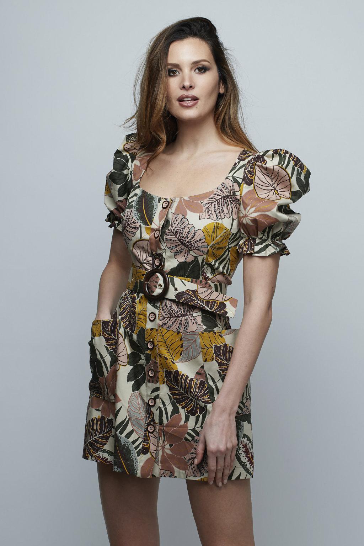 Vestido corto Safari hojas Space Flamingo-SevenTimes