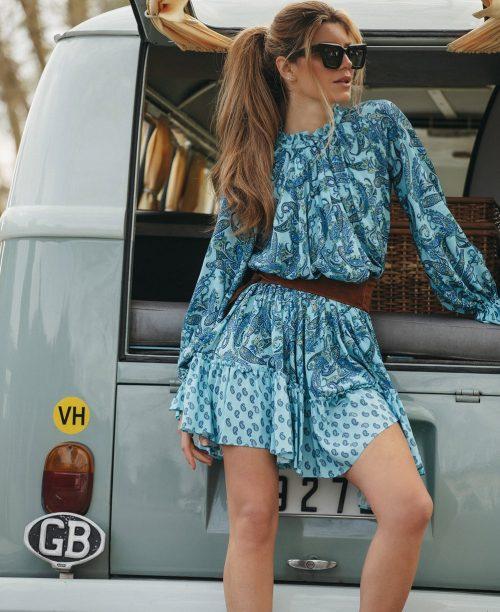 vestido-corto-cashmere-azul space flamingo seven times