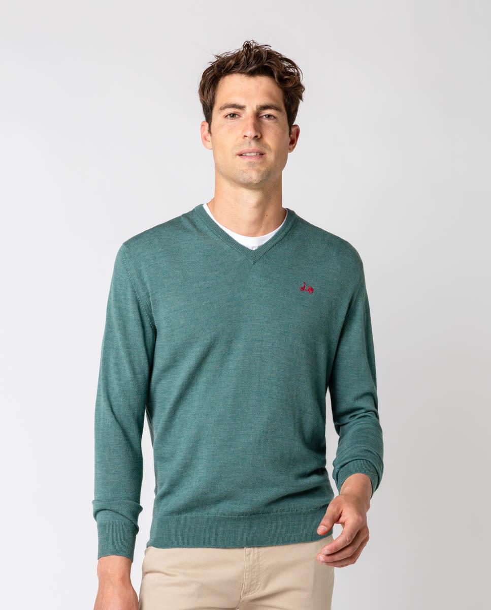 Jersey pico merino verde scotta seven times