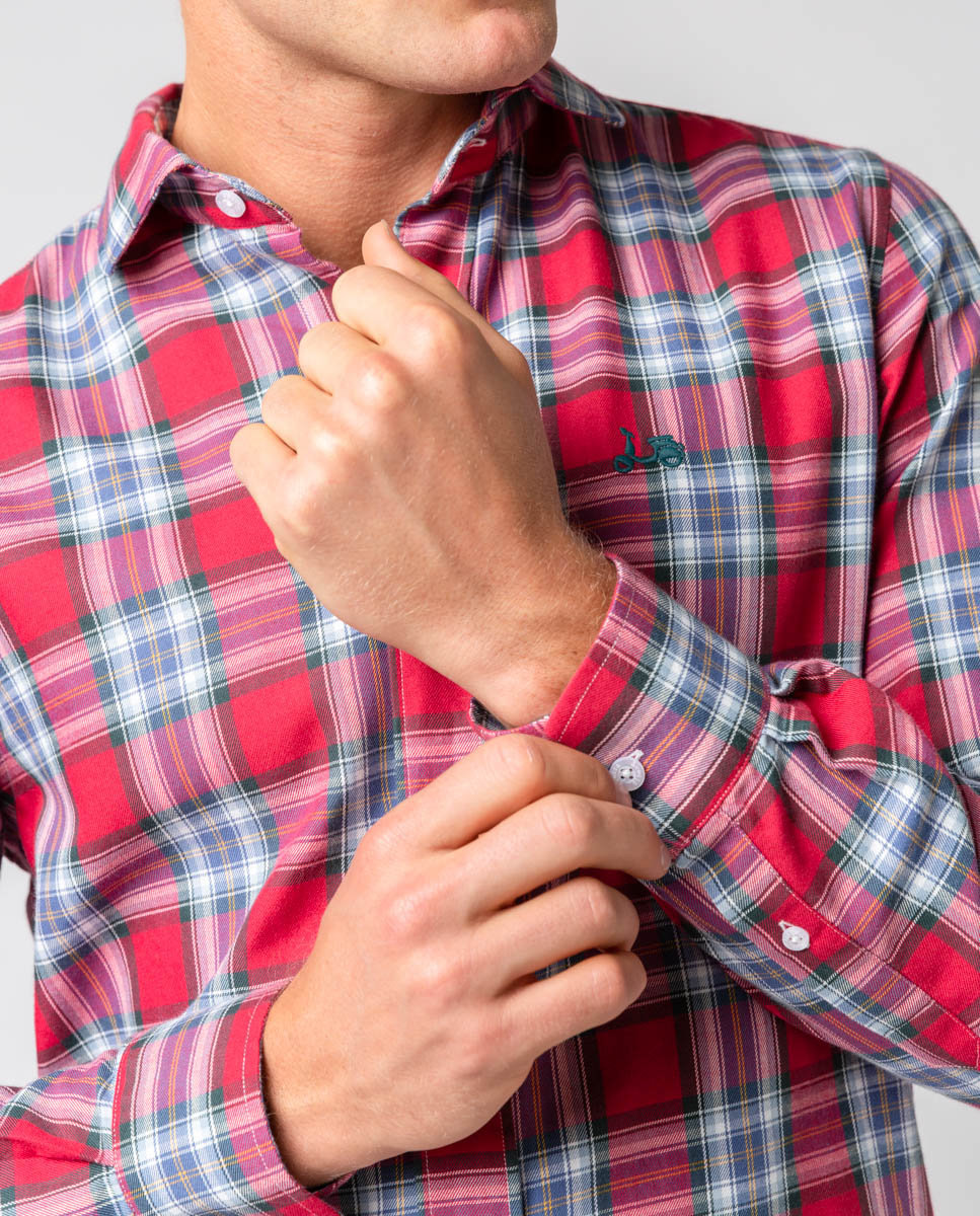 scotta camisa cuadros texas burdeos -SevenTimes