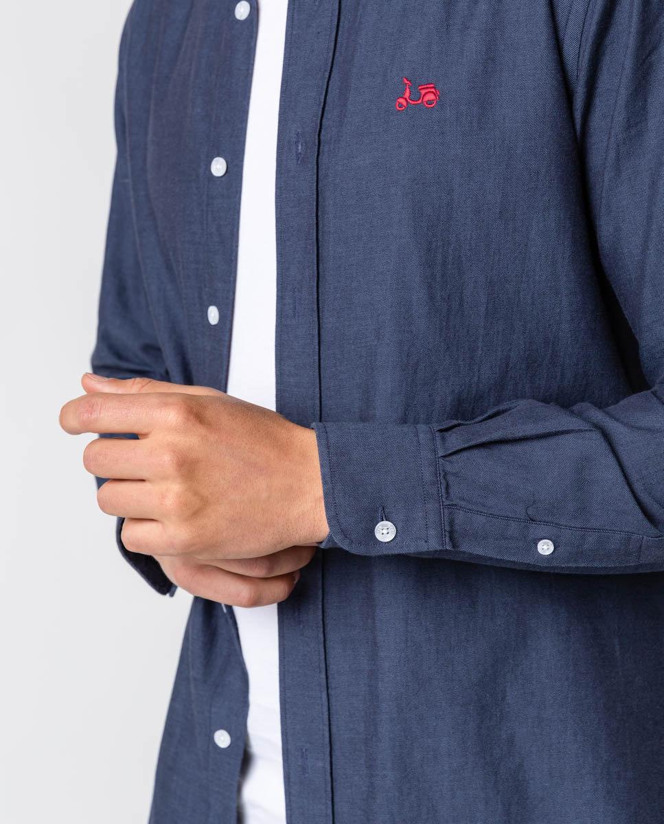 camisa sarga eco indigo -SevenTimes