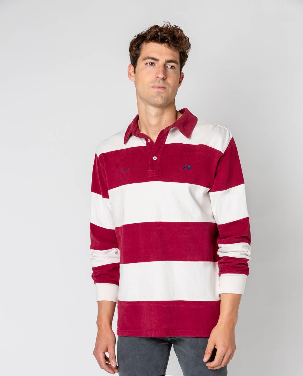 polo rugby stripes burdeos -SevenTimes